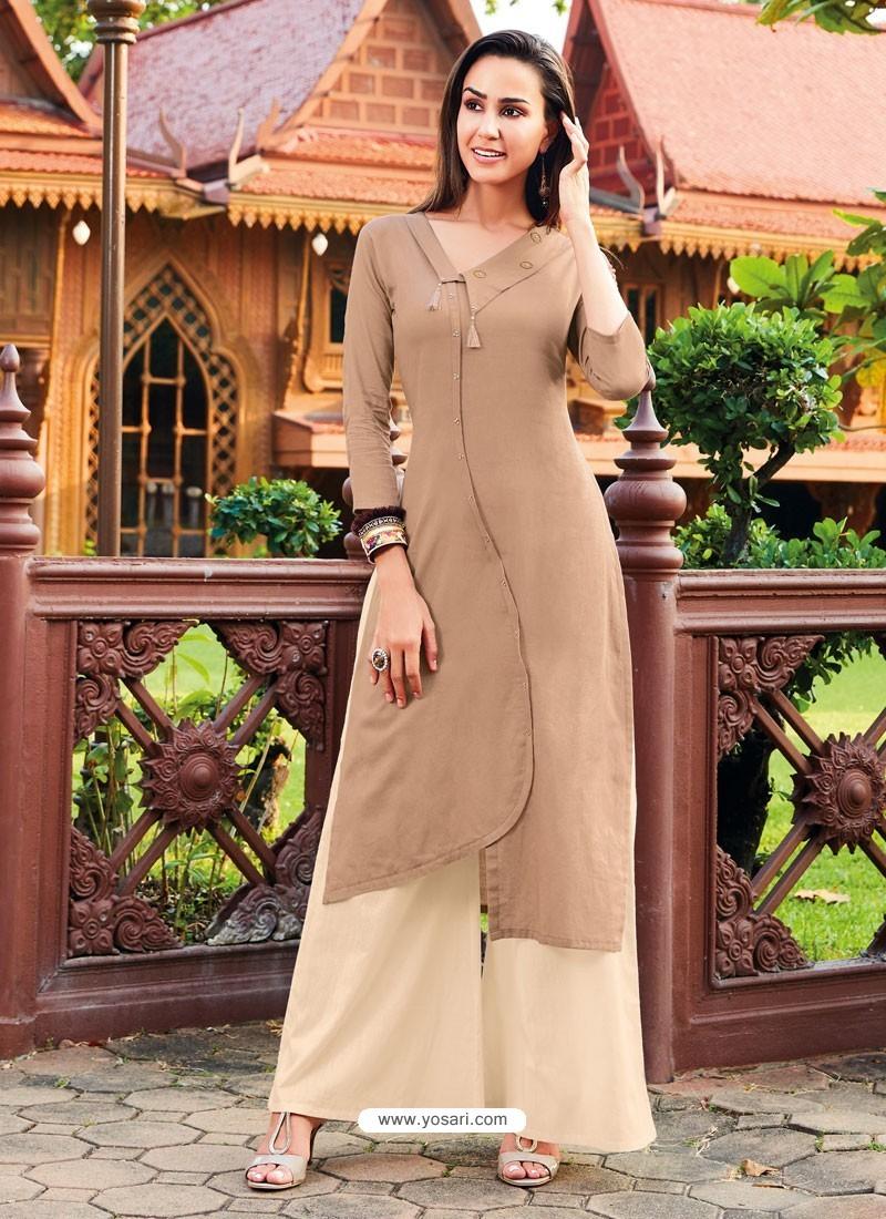 Beige Silk Cotton Designer Readymade Kurti