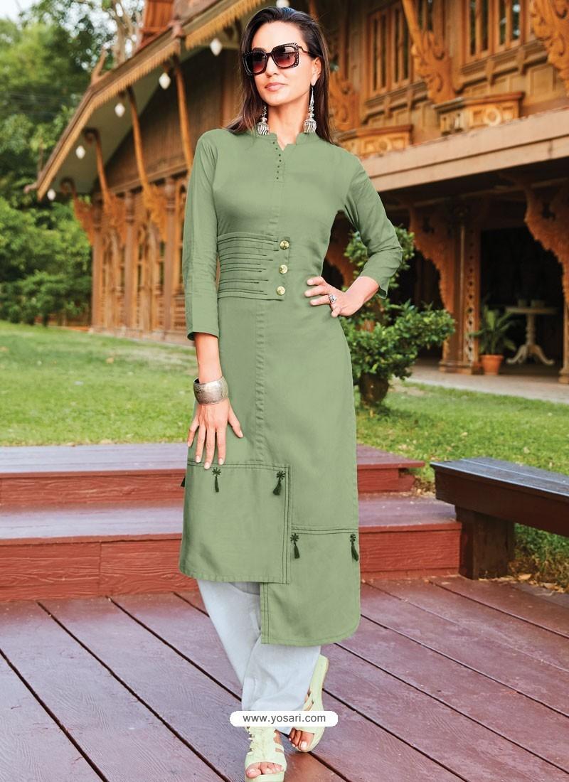 Olive Green Silk Cotton Designer Readymade Kurti