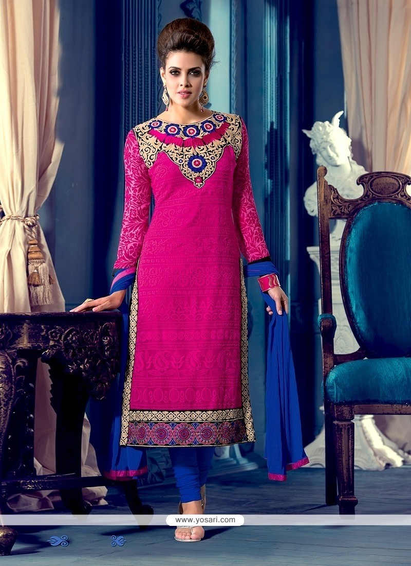 Flashy Magenta And Blue Georgette Churidar Suit