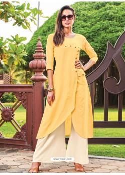 Yellow Silk Cotton Designer Readymade Kurti