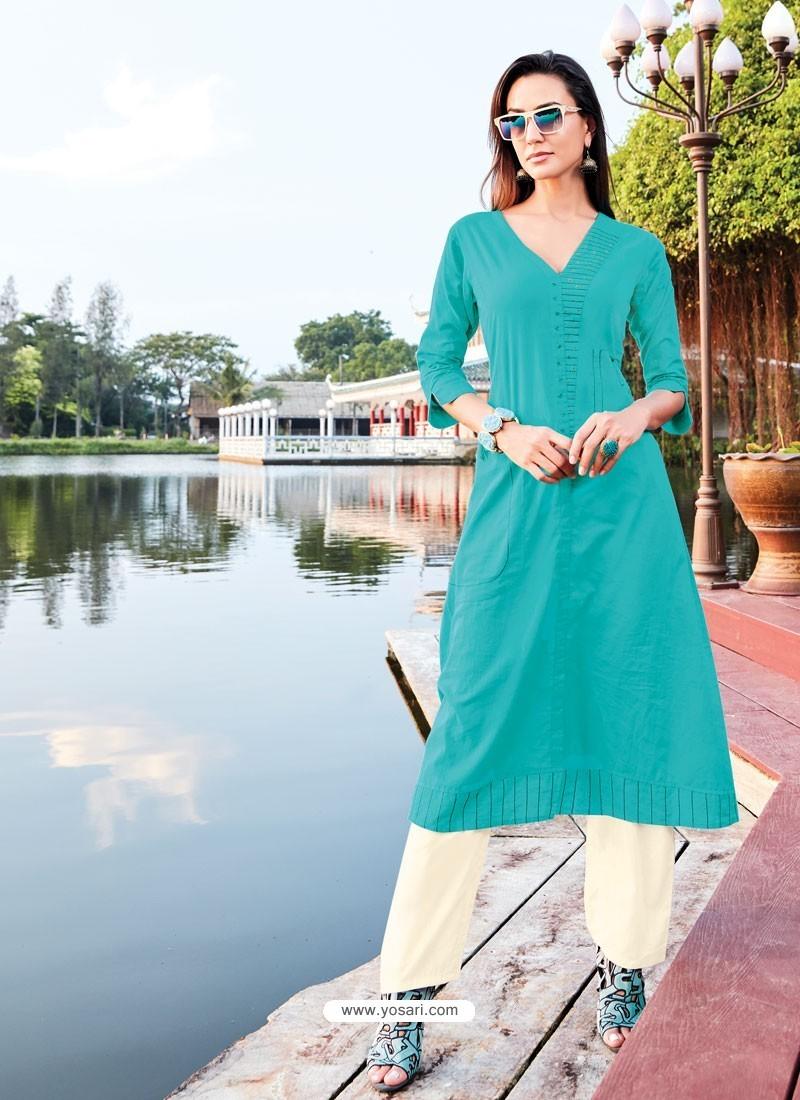 Aqua Blue Silk Cotton Designer Readymade Kurti