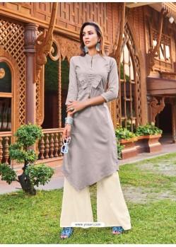 Light Grey Silk Cotton Designer Readymade Kurti