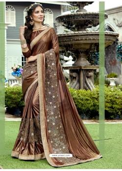 Coffee Brown Lycra And Net Thread Embroidered Designer Saree