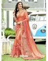 Orange Lycra And Net Thread Embroidered Designer Saree
