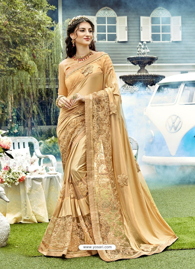 Golden Lycra And Net Jari Embroidered Designer Saree
