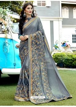 Grey Lycra And Net Resham Embroidered Designer Saree