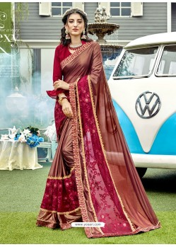Wine Lycra And Net With Thread Jari Work Designer Saree