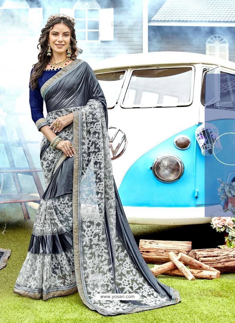 Beautiful Grey Lycra And Net With Thread Work Designer Saree