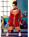 Modish Red Georgette Churidar Suit