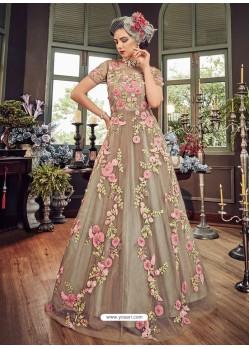 Light Brown Butter Fly Net Embroidered Designer Anarkali Suit