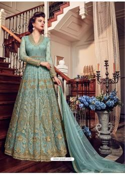 Turquoise Premium Net Embroidered Designer Anarkali Suit