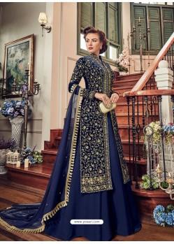 Navy Blue Micro Velvet Swiss Georgette Embroidered Designer Anarkali Suit