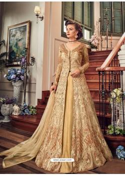 Cream Premium Net Embroidered Designer Anarkali Suit