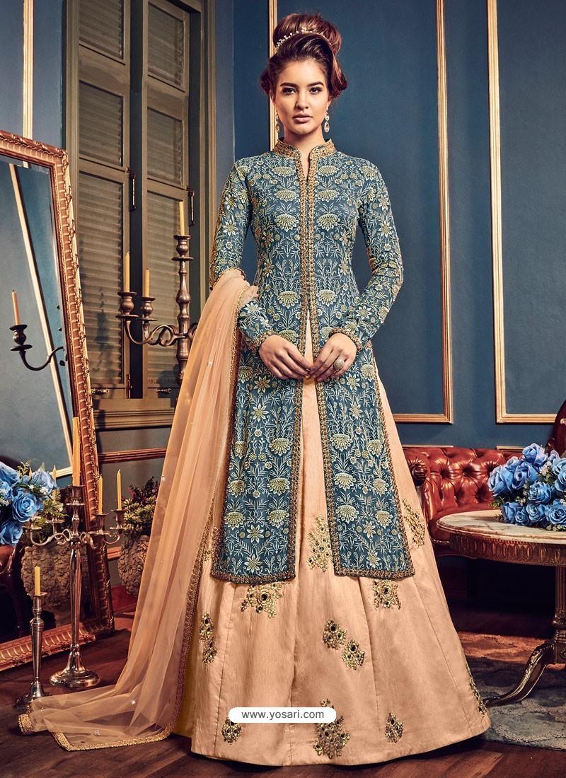 Teal Blue And Cream Swiss Georgette Embroidered Designer Anarkali Suit