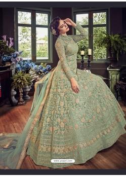 Sea Green Butter Fly Net Embroidered Designer Anarkali Suit