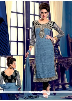 Embellished Grey Georgette Churidar Suit