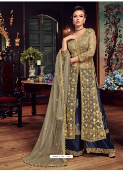 Beige And Navy Blue Premium Net Embroidered Designer Anarkali Suit
