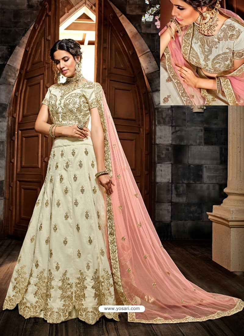 Off White Silk Embroidered Designer Lehenga Choli