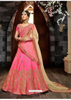 Hot Pink Lemon Silk Embroidered Designer Lehenga Choli