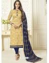 Cream Banarasi Jacquard Embroidered Designer Churidar Suit