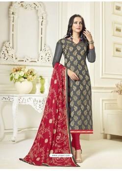 Dull Grey Banarasi Jacquard Embroidered Designer Churidar Suit