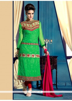 Pretty Green Georgette Churidar Suit