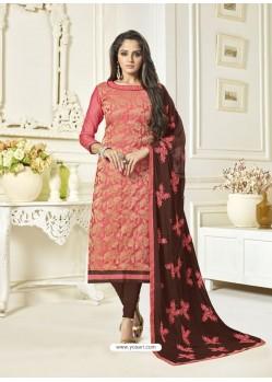 Dark Peach Banarasi Jacquard Embroidered Designer Churidar Suit