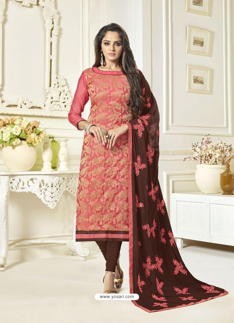 5b94510838 Buy Dark Peach Banarasi Jacquard Embroidered Designer Churidar Suit ...