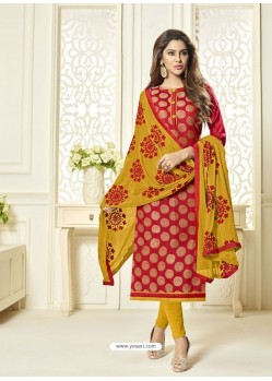 Red And Mustard Banarasi Jacquard Embroidered Designer Churidar Suit