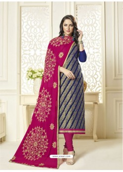 Navy Blue Banarasi Jacquard Embroidered Designer Churidar Suit
