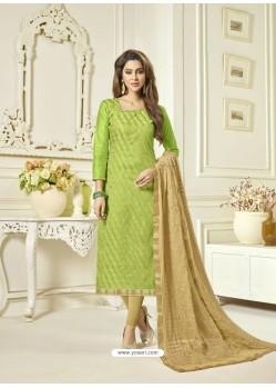 Parrot Green Banarasi Jacquard Embroidered Designer Churidar Suit