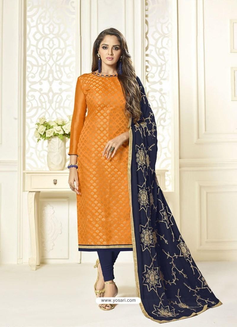 Orange Banarasi Jacquard Embroidered Designer Churidar Suit