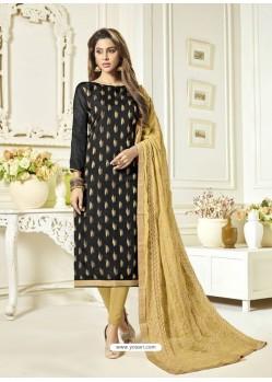 Black Banarasi Jacquard Embroidered Designer Churidar Suit