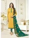 Yellow Banarasi Jacquard Embroidered Designer Churidar Suit
