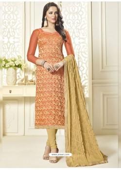 Light Orange Banarasi Jacquard Embroidered Designer Churidar Suit