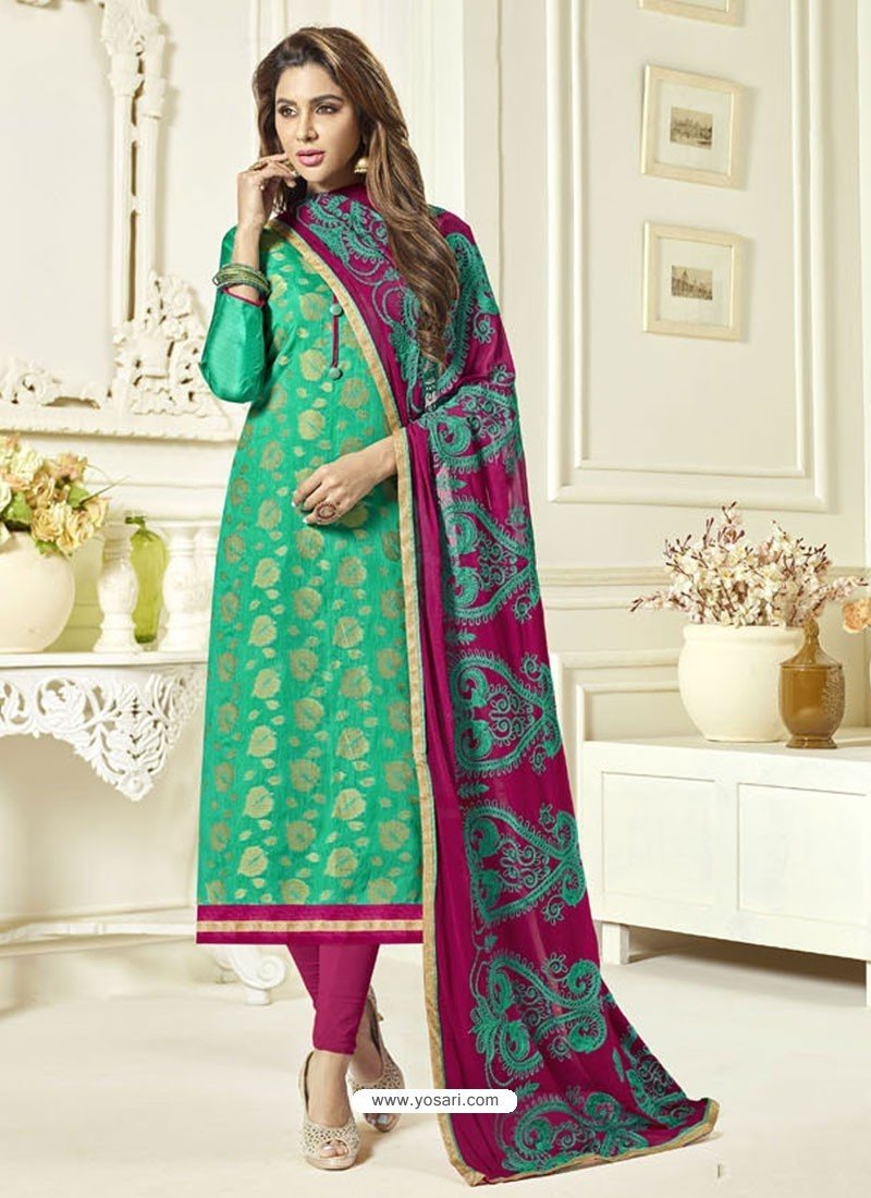 Jade Green Banarasi Jacquard Embroidered Designer Churidar Suit
