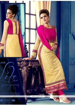 Elegant Pink And Cream Georgette Churidar Suit