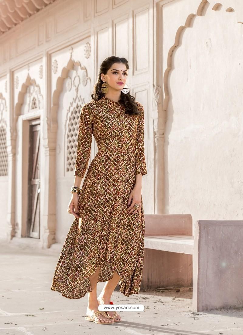 Marigold Heavy Rayon Designer Readymade Kurti