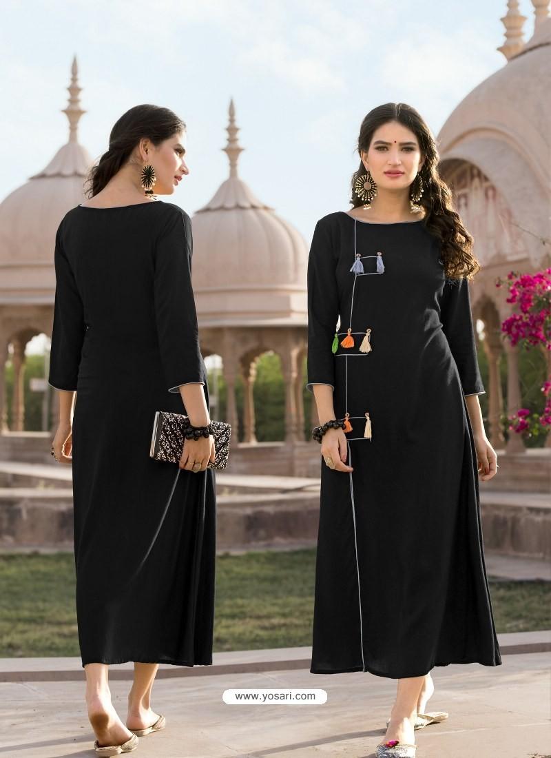 Glorious Black Heavy Rayon Designer Readymade Kurti