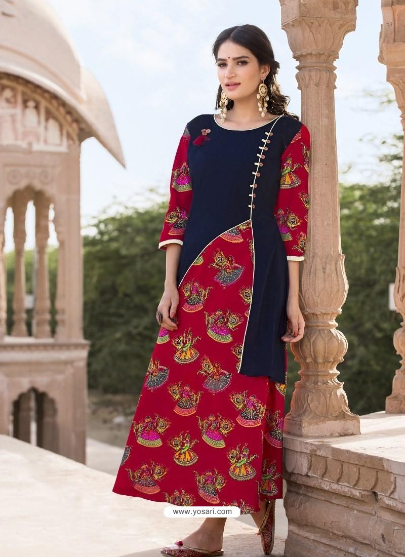 Red Heavy Rayon Designer Readymade Kurti