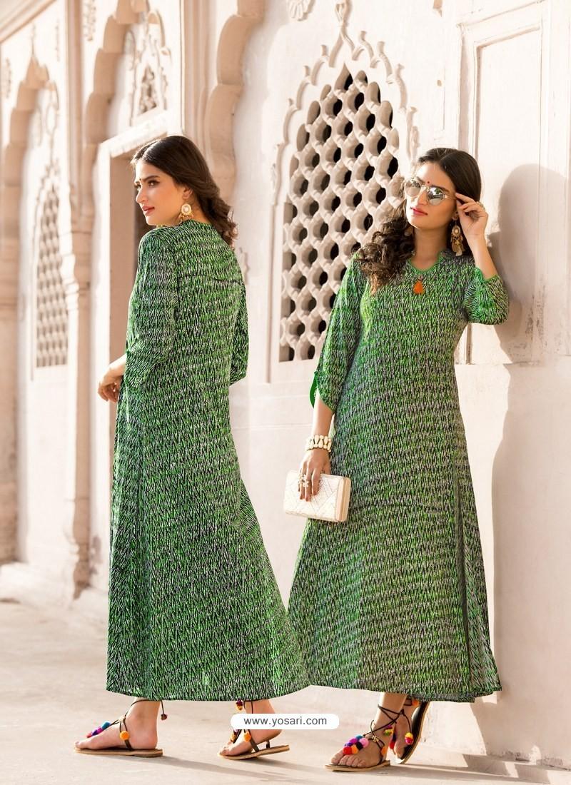 Forest Green Heavy Rayon Designer Readymade Kurti