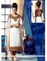 Tantalizing White And Brown Georgette Churidar Suit