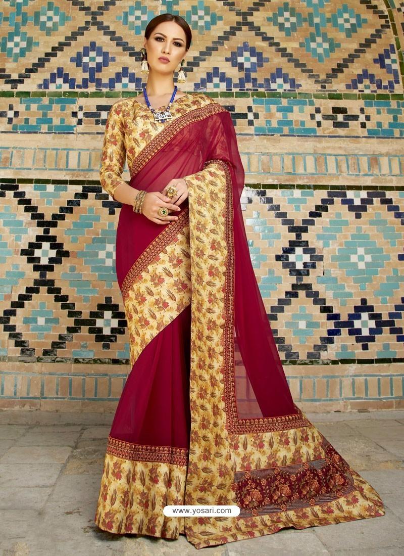 Maroon Georgette With Border Worked Designer Saree