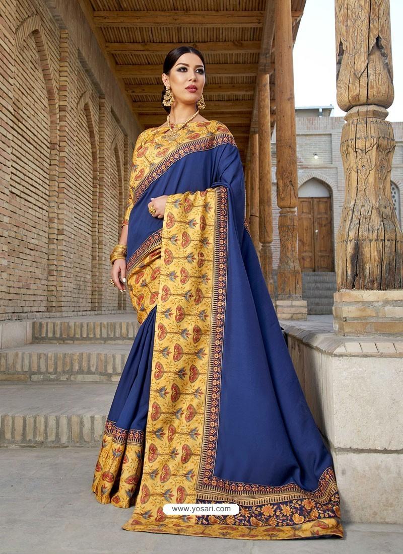 Navy Blue Georgette With Border Worked Designer Saree