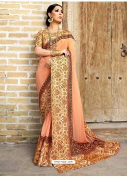 Light Orange Georgette With Border Worked Designer Saree