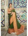 Dark Green Georgette With Border Worked Designer Saree