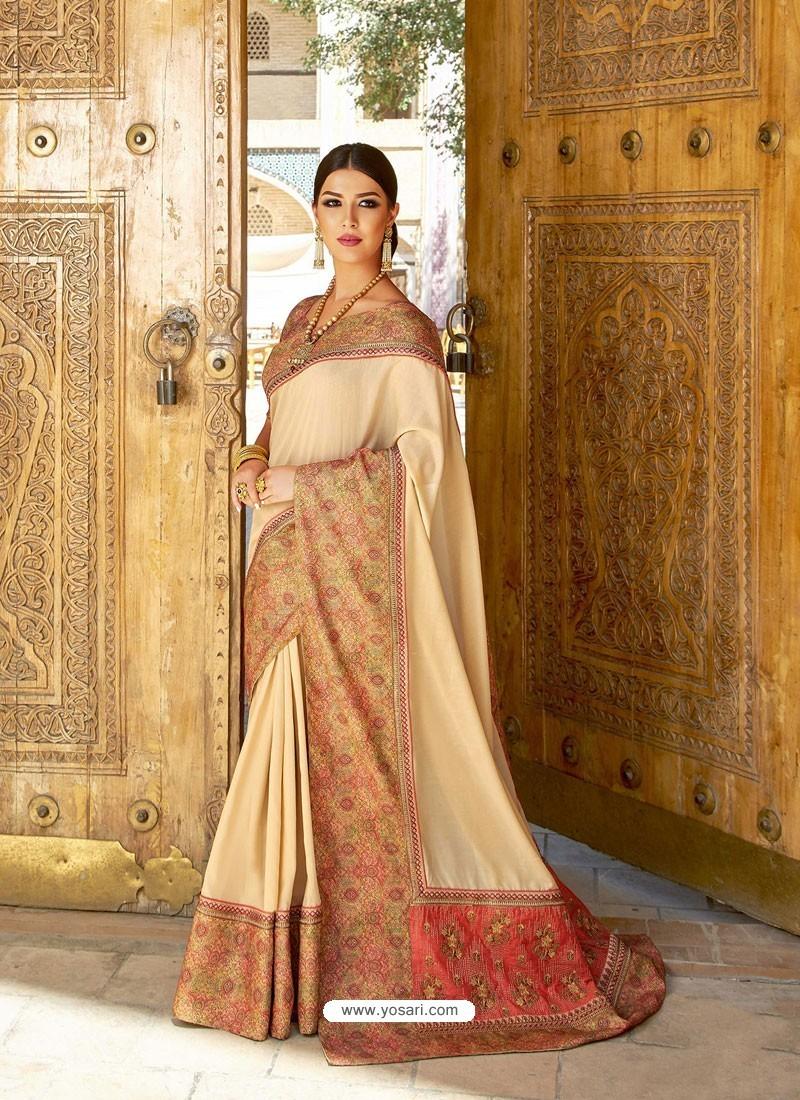 Cream Georgette With Border Worked Designer Saree