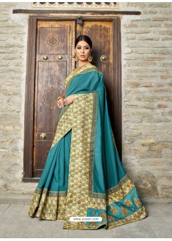 Turqouise Georgette With Border Worked Designer Saree