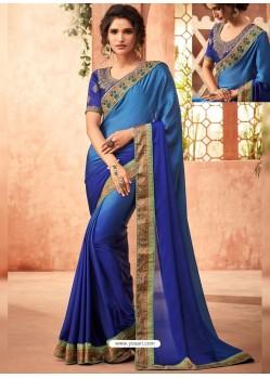 Royal Blue Sunshine Silk Embroidered Designer Party Wear Saree