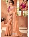 Light Orange Glitter Georgette Embroidered Designer Party Wear Saree